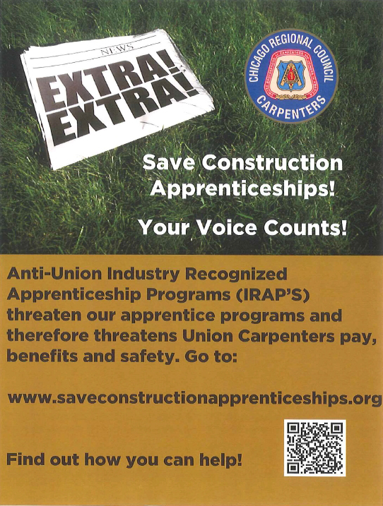 Save Construction Apprenticeships! Your Voice Counts!