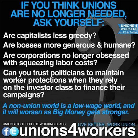 If You Think Unions Are No Longer Needed, Ask Yourself
